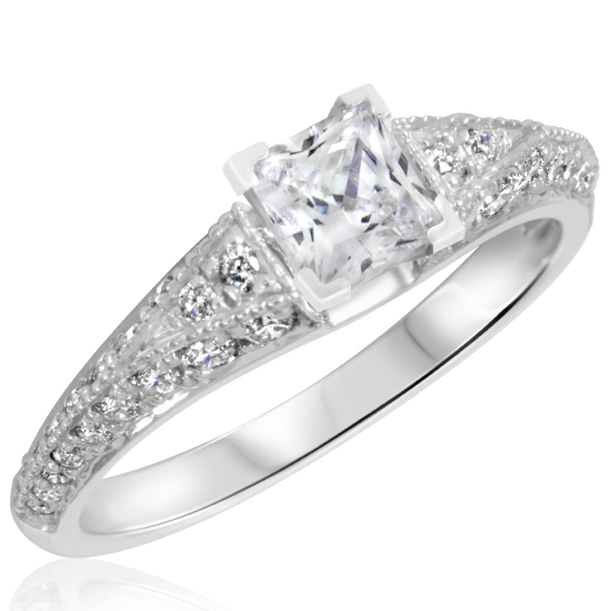 1 1/4 CT. T.W. Diamond Ladies Engagement Ring 14K White Gold- Size 8