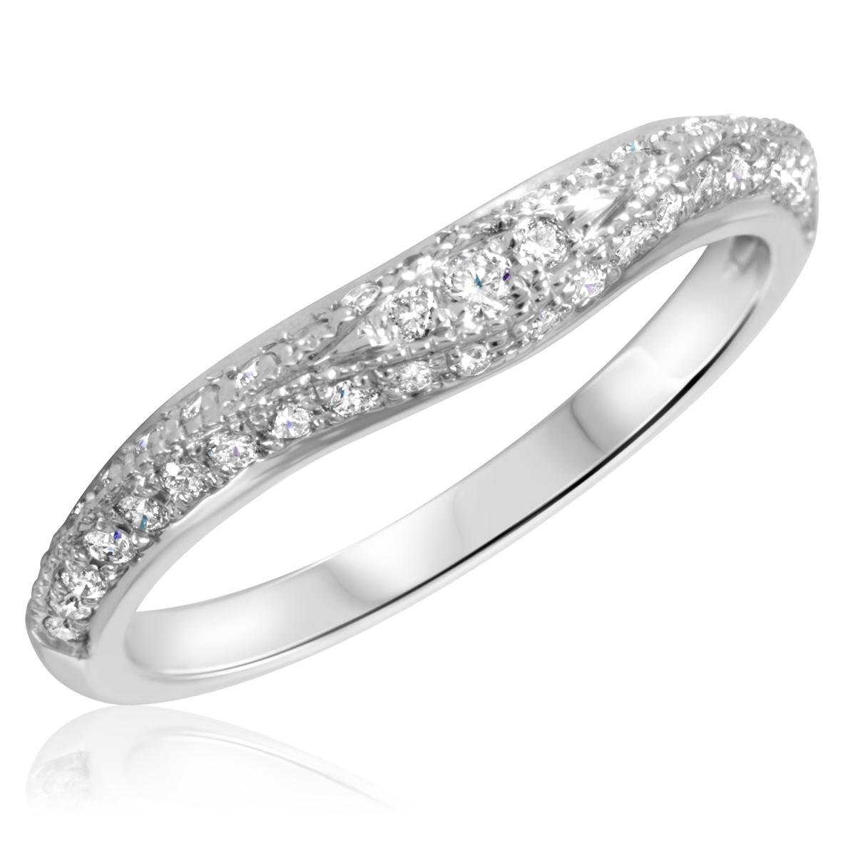 1/3 Carat T.W. Round Cut Diamond Ladies Wedding Band 14K White Gold- Size 8