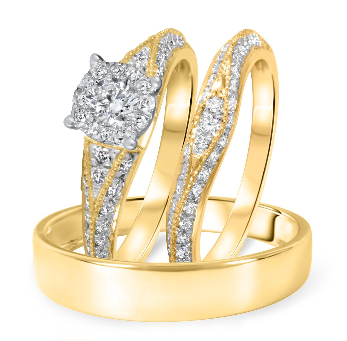 1 1/4 CT. T.W. Diamond Ladies Engagement Ring, Wedding Band, Men's Wedding Band