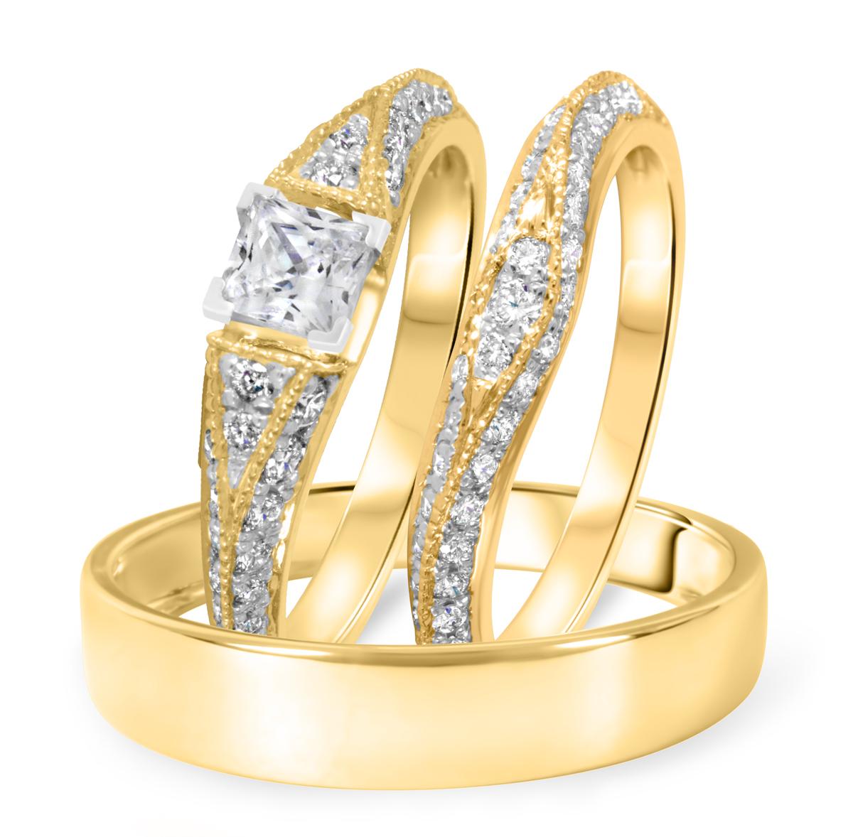1 1/6 CT. T.W. Diamond Ladies Engagement Ring, Wedding Band, Men's Wedding Band