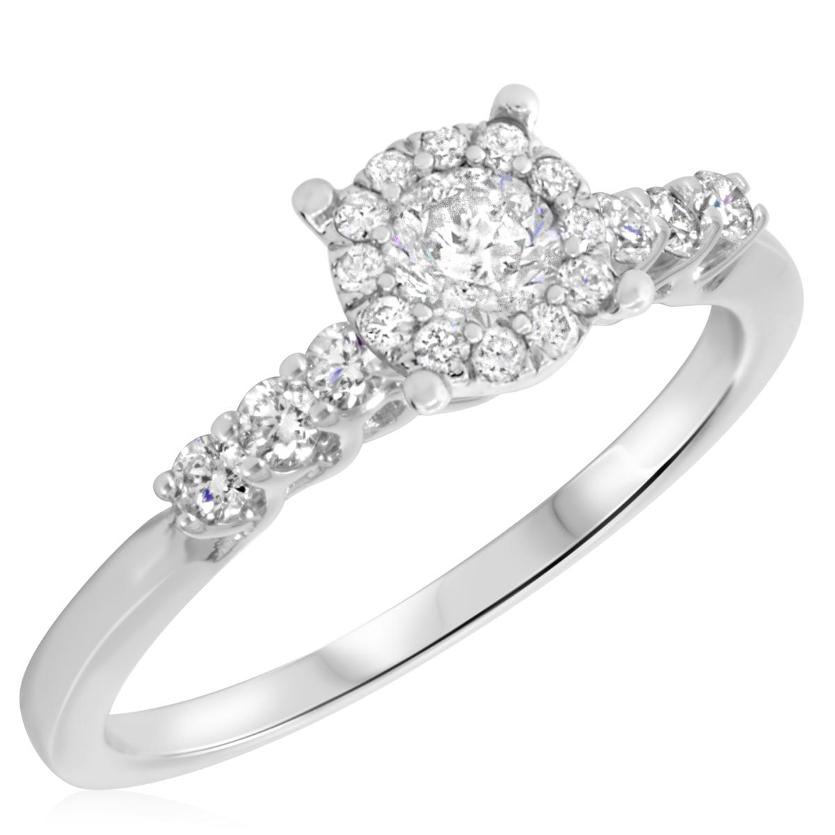 5/8 CT. T.W. Diamond Ladies Engagement Ring 14K White Gold- Size 8