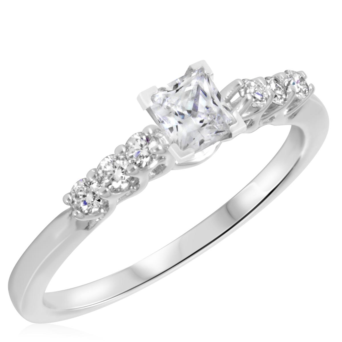 1/2 CT. T.W. Diamond Ladies Engagement Ring 10K White Gold- Size 8