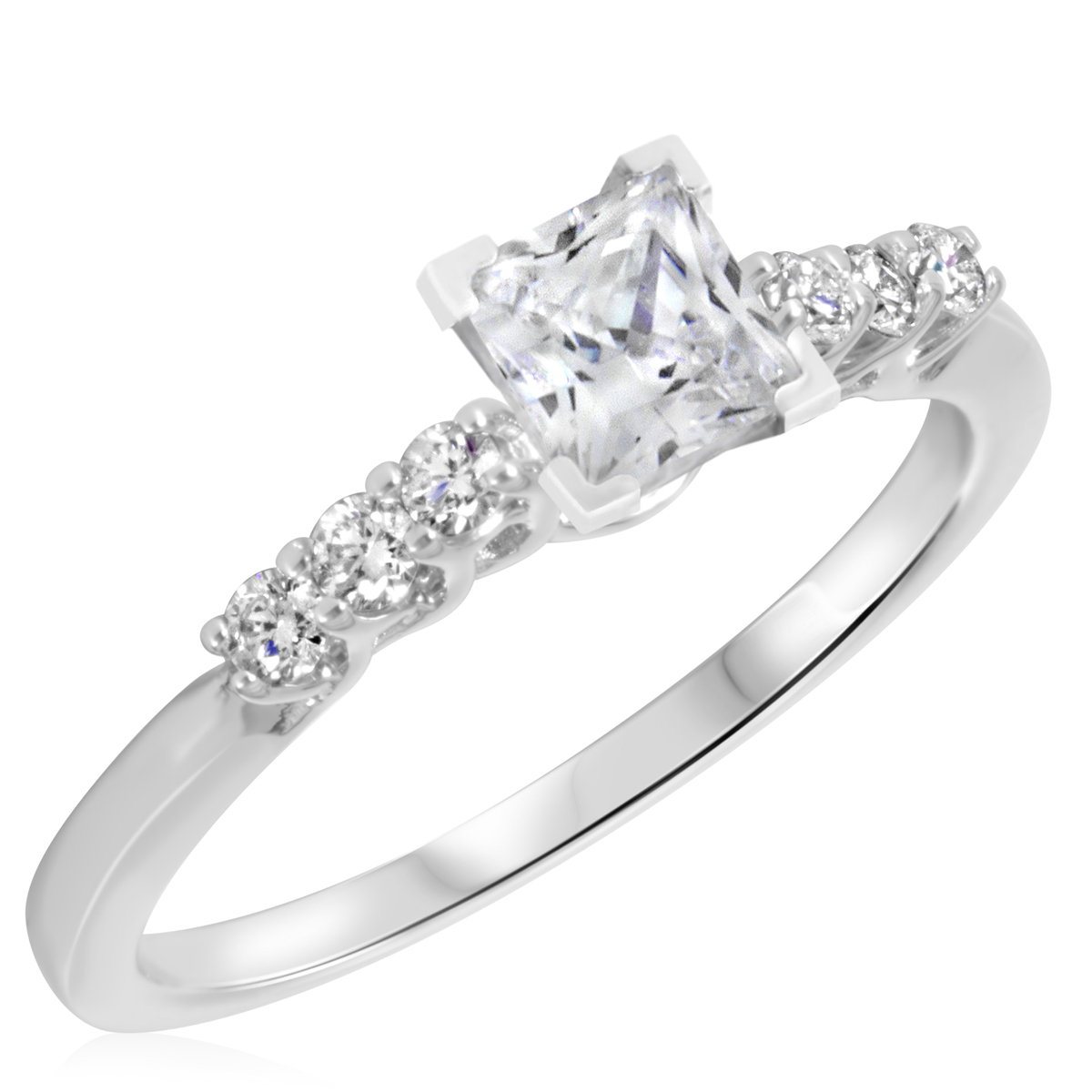 7/8 CT. T.W. Diamond Ladies Engagement Ring 10K White Gold- Size 8