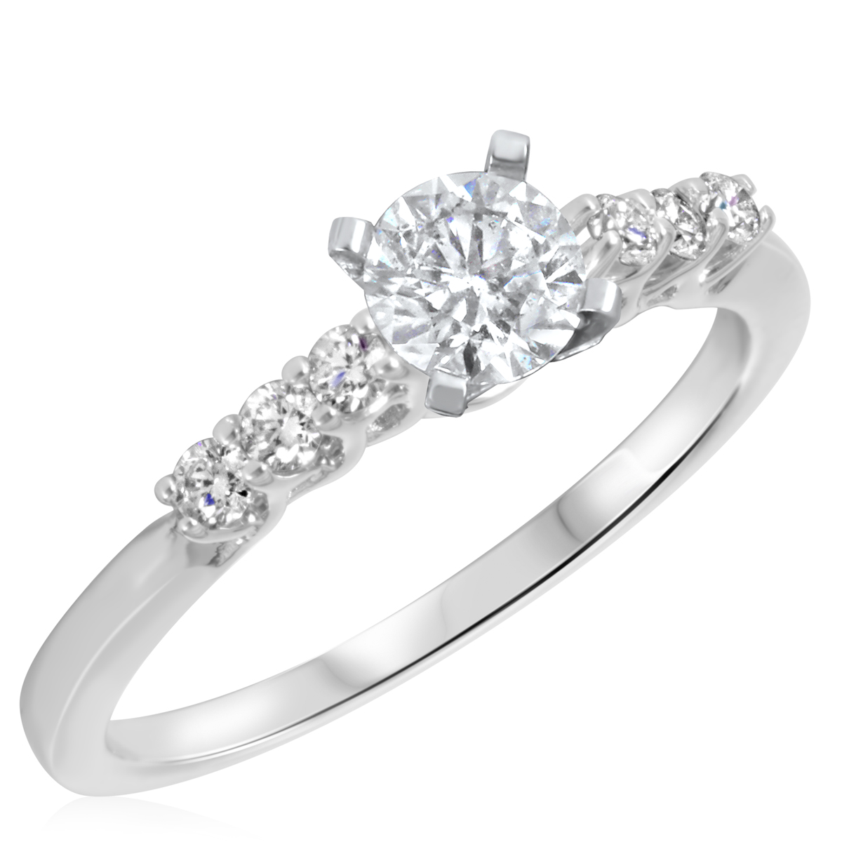 2/3 CT. T.W. Diamond Ladies Engagement Ring 10K White Gold- Size 8