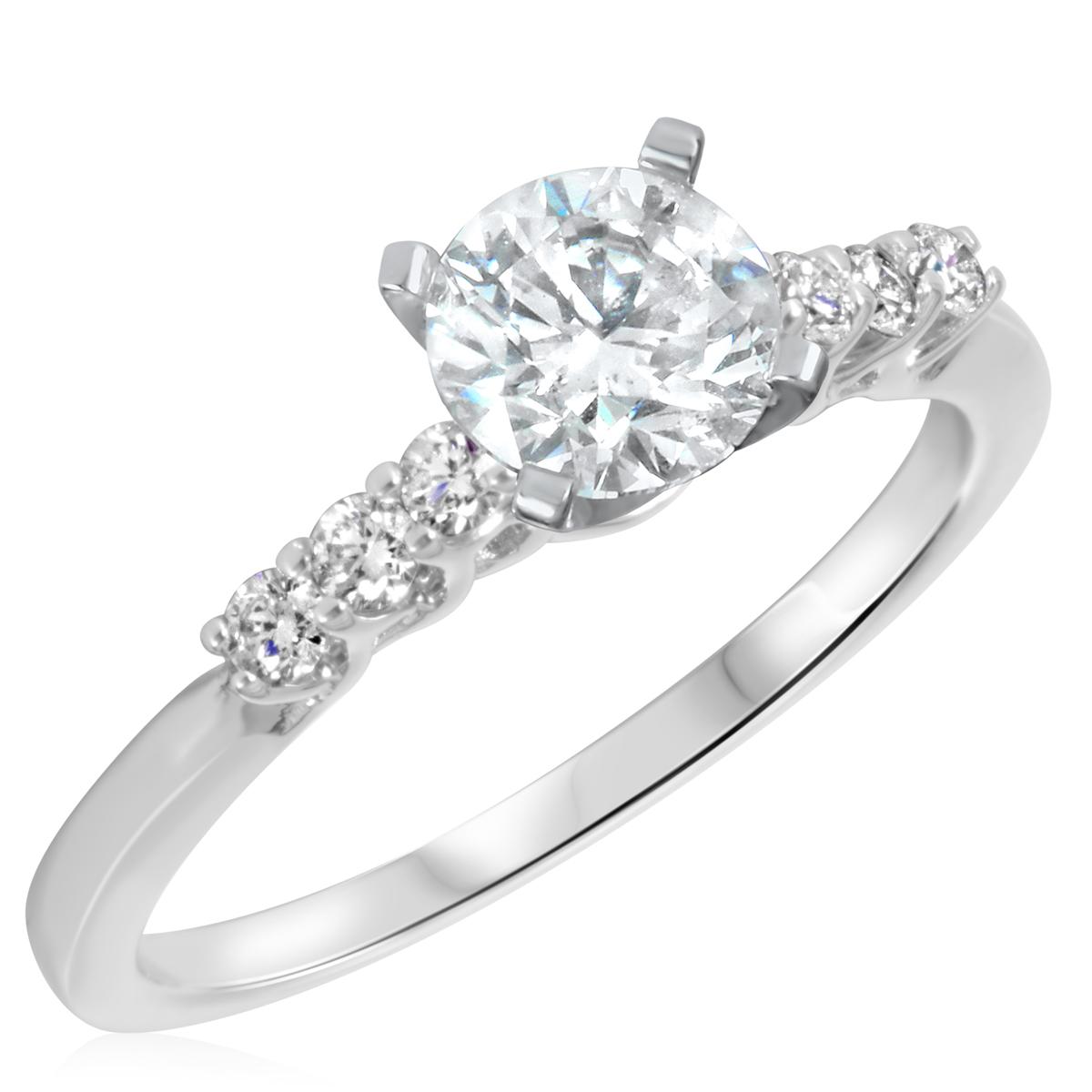 1 1/5 CT. T.W. Diamond Ladies Engagement Ring 10K White Gold- Size 8