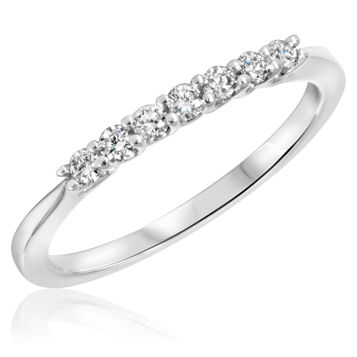 1/5 Carat T.W. Round Cut Diamond Ladies Wedding Band 10K White Gold- Size 8
