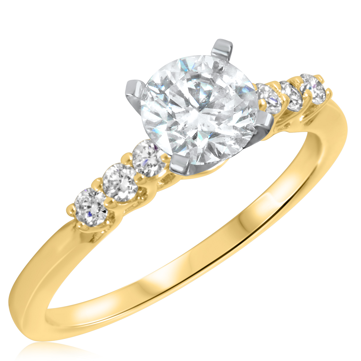 1 1/5 CT. T.W. Diamond Ladies Engagement Ring 10K Yellow Gold- Size 8