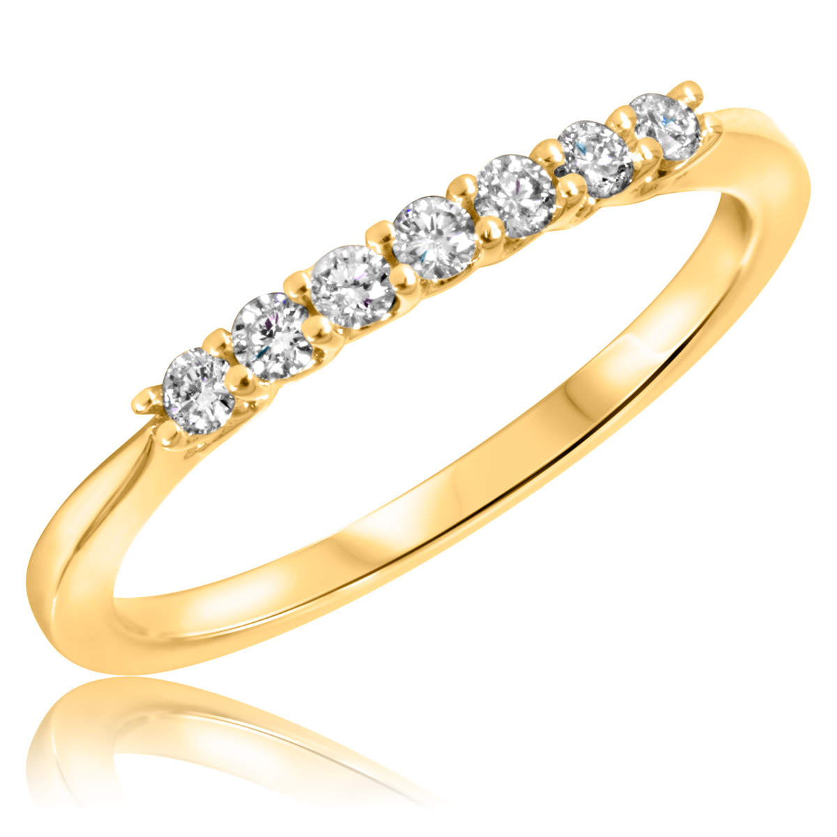1/5 Carat T.W. Round Cut Diamond Ladies Wedding Band 10K Yellow Gold- Size 8