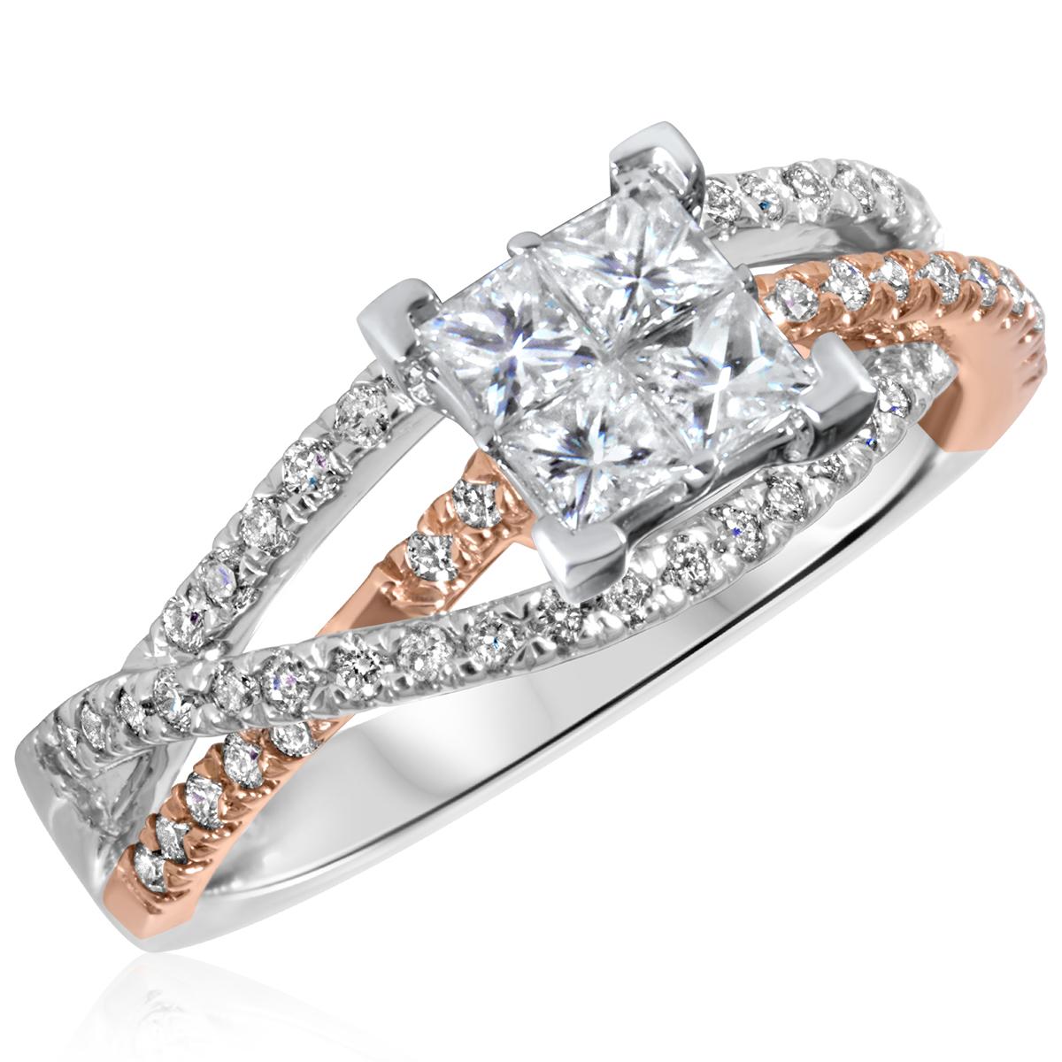 7/8 CT. T.W. Diamond Ladies Engagement Ring 14K White Gold- Size 8