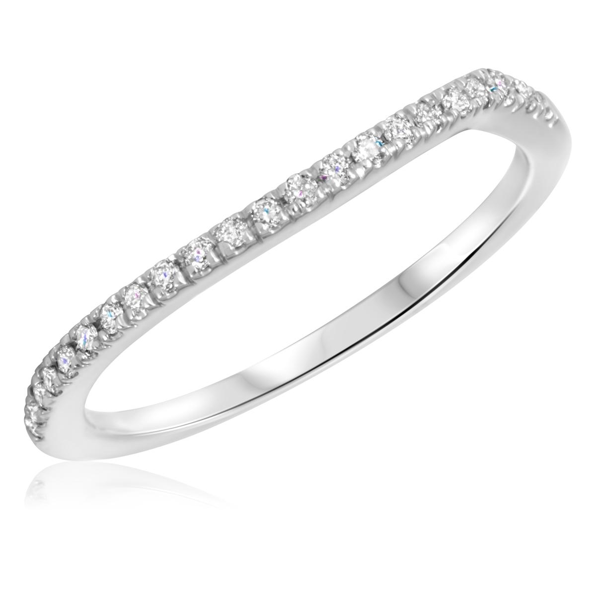 1/10 Carat T.W. Round Cut Diamond Ladies Wedding Band 10K White Gold- Size 8