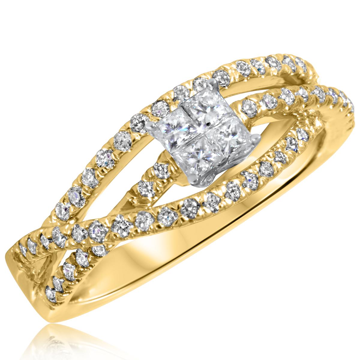 1/2 CT. T.W. Diamond Ladies Engagement Ring 14K Yellow Gold- Size 8