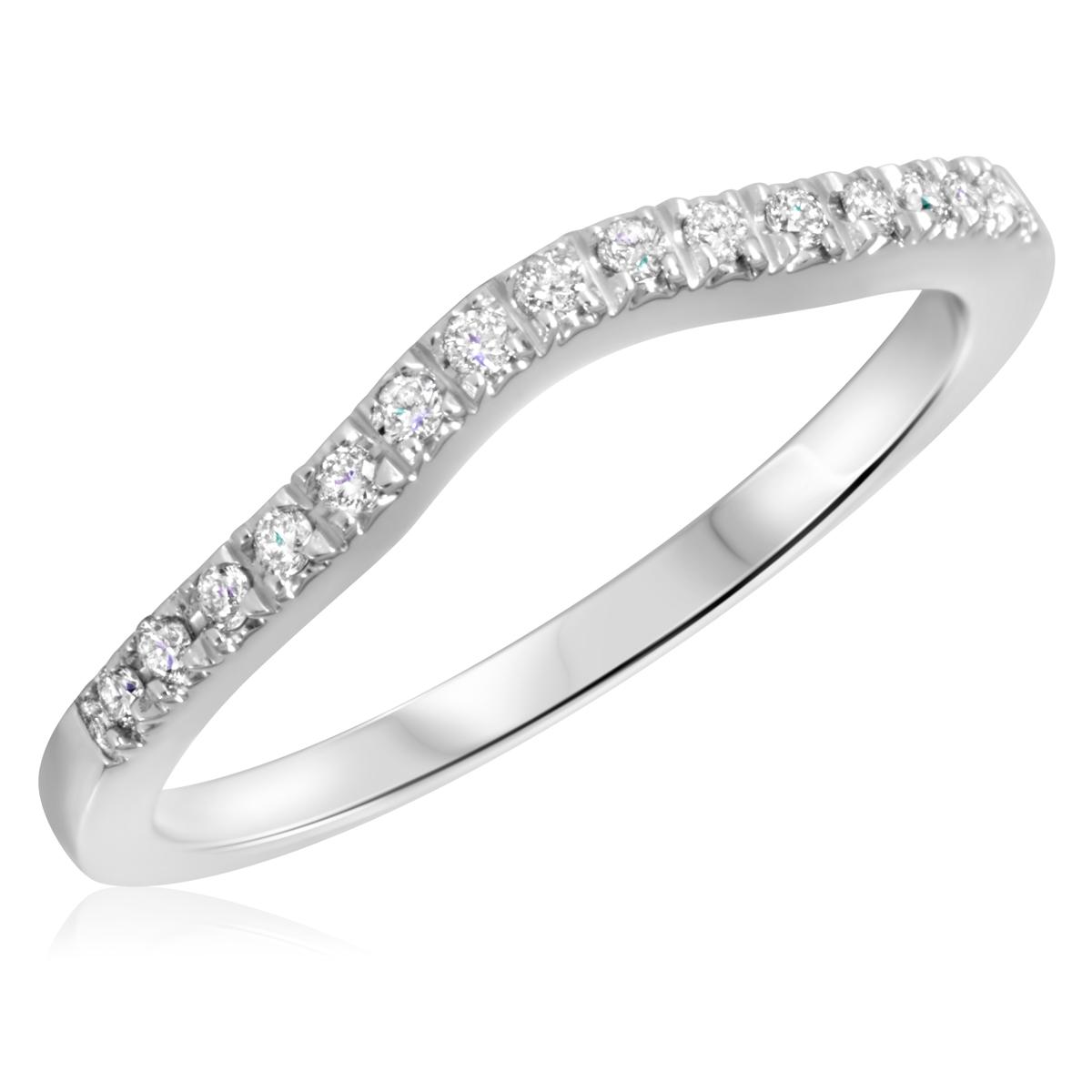 1/8 Carat T.W. Round Cut Diamond Ladies Wedding Band 14K White Gold- Size 8