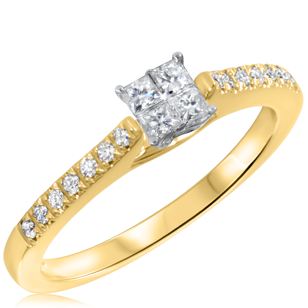 1/3 CT. T.W. Diamond Ladies Engagement Ring 14K Yellow Gold- Size 8
