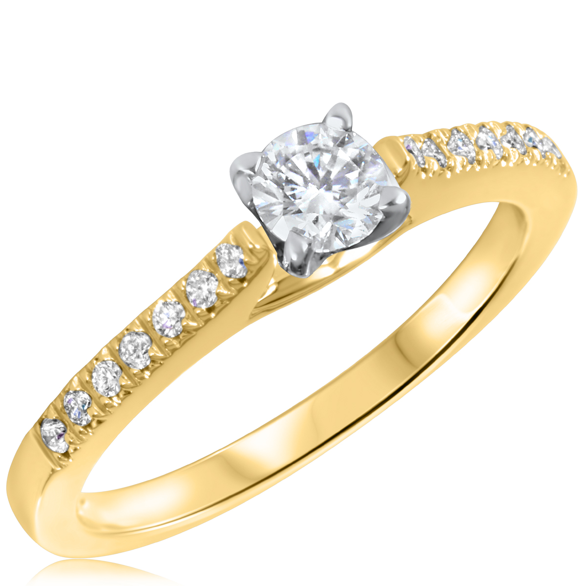 3/8 CT. T.W. Diamond Ladies Engagement Ring 10K Yellow Gold- Size 8