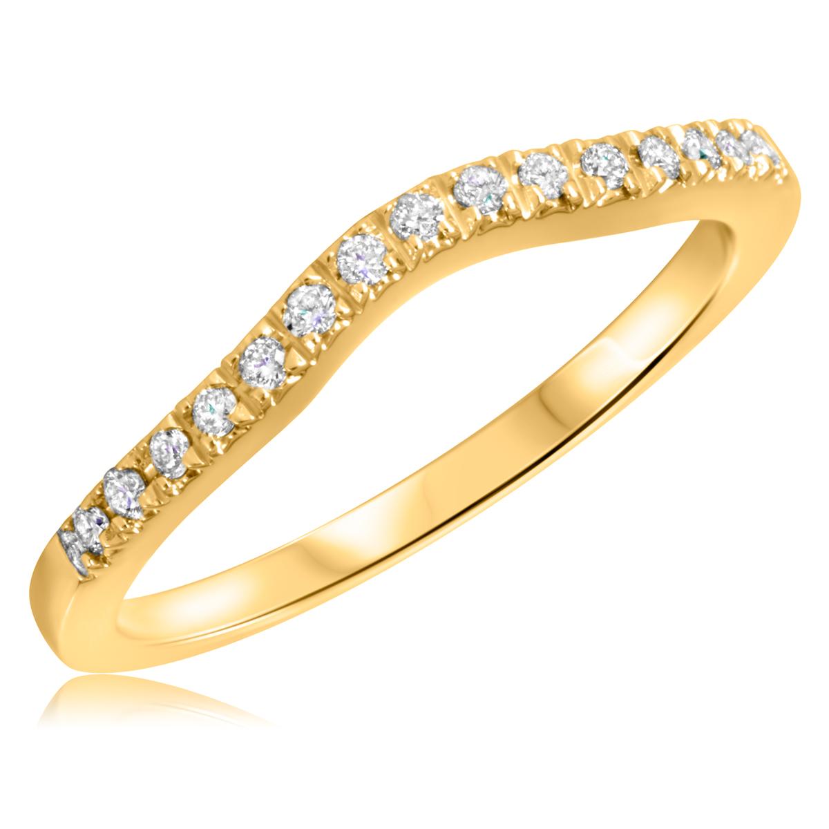 1/8 Carat T.W. Round Cut Diamond Ladies Wedding Band 10K Yellow Gold- Size 8