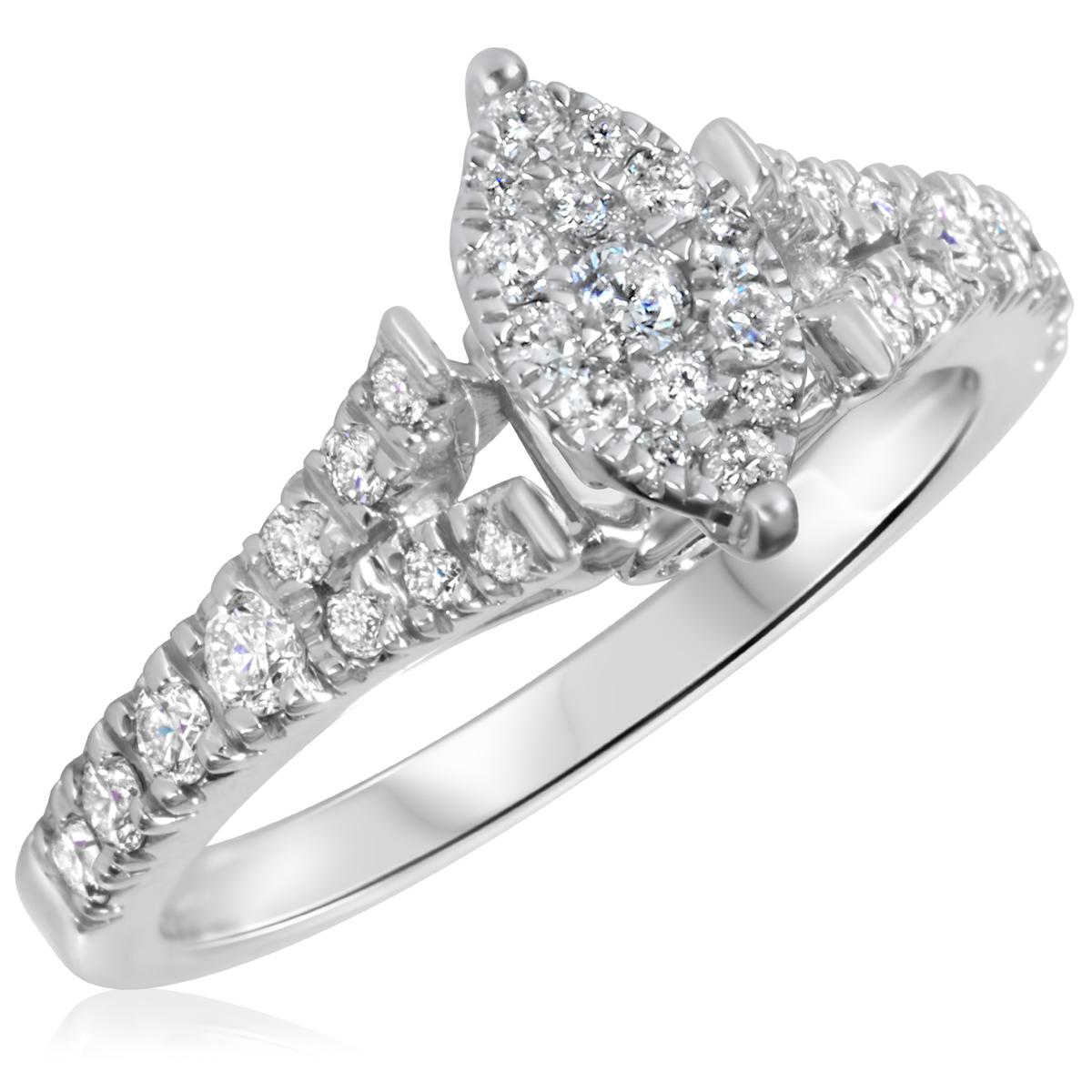 5/8 CT. T.W. Diamond Ladies Engagement Ring 10K White Gold- Size 8