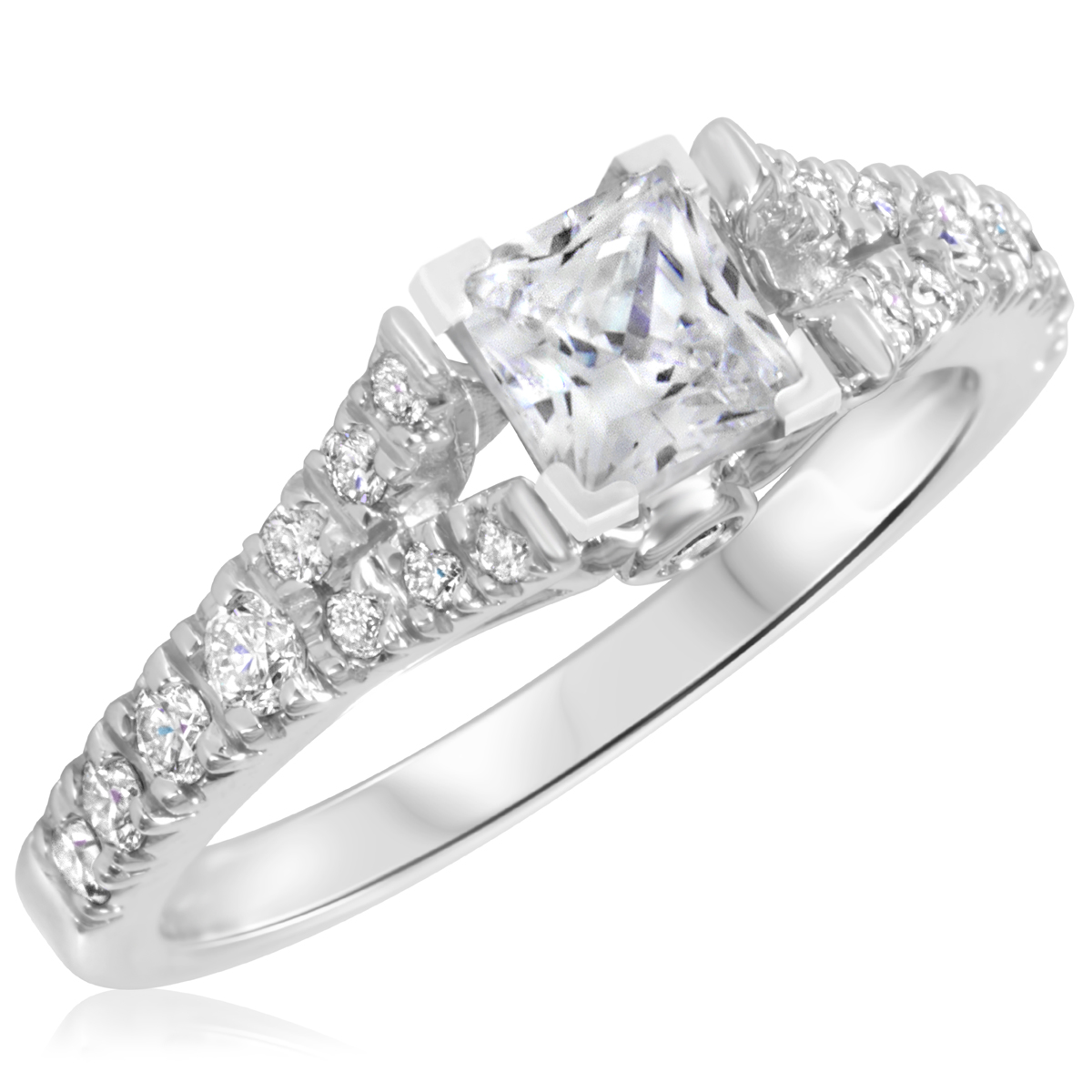 1 1/6 CT. T.W. Diamond Ladies Engagement Ring 10K White Gold- Size 8