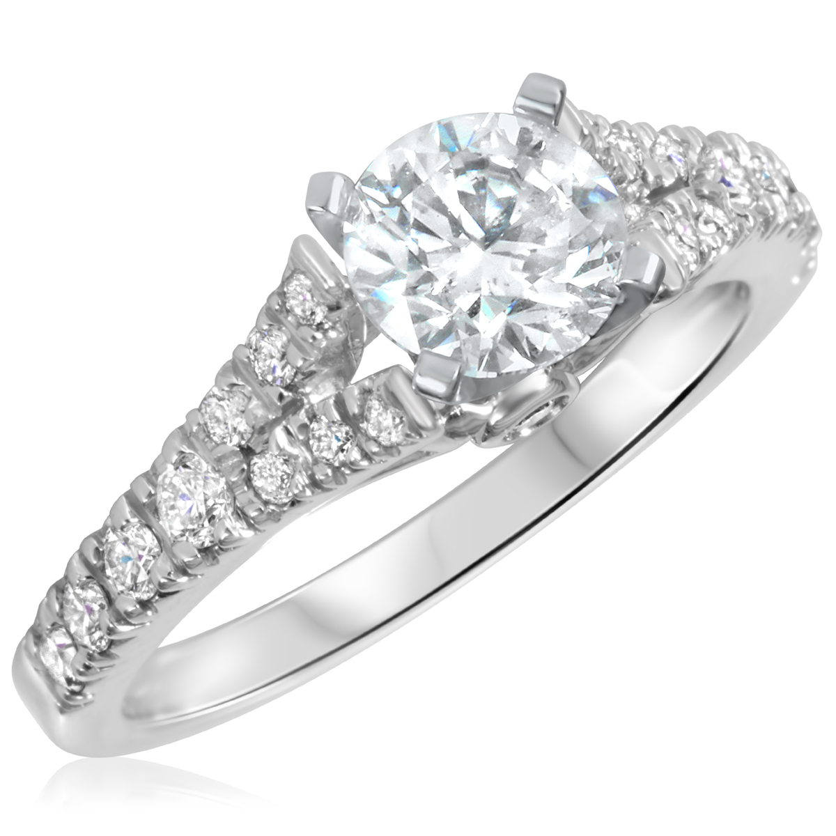 1 3/8 CT. T.W. Diamond Ladies Engagement Ring 10K White Gold- Size 8