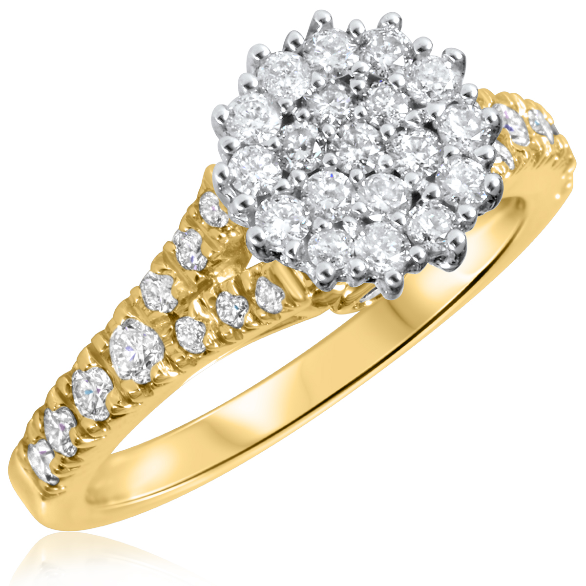 7/8 CT. T.W. Diamond Ladies Engagement Ring 14K Yellow Gold- Size 8