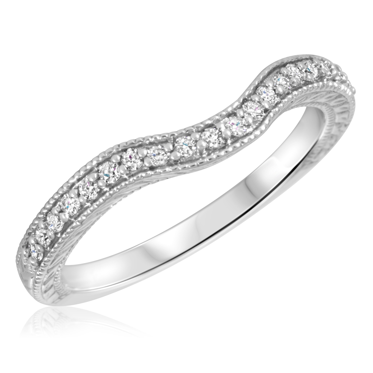 1/6 Carat T.W. Round Cut Diamond Ladies Wedding Band 10K White Gold- Size 8