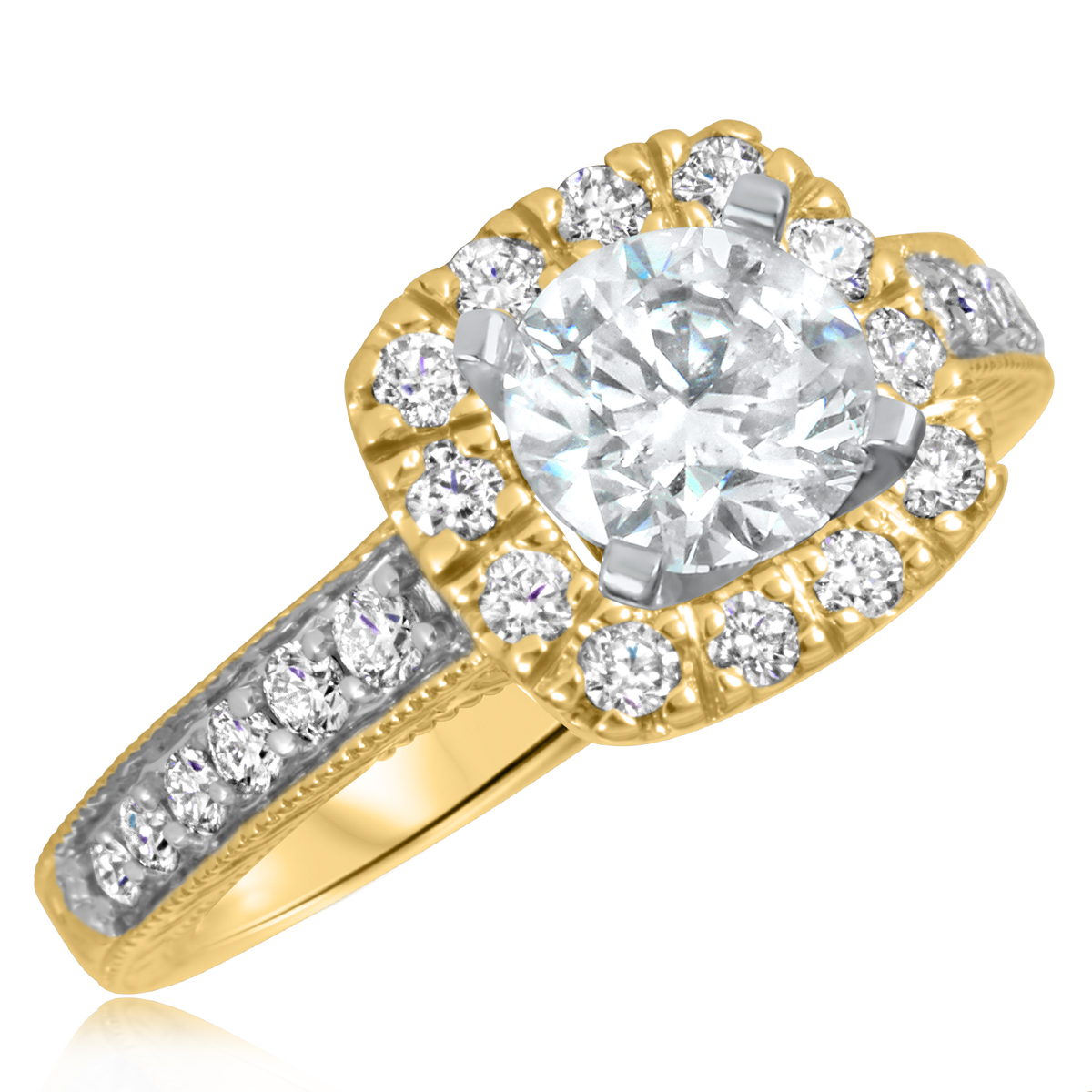 1 1/2 CT. T.W. Diamond Ladies Engagement Ring 14K Yellow Gold- Size 8