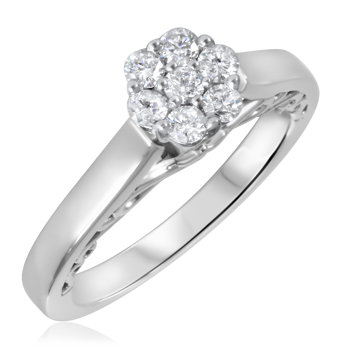 1/3 CT. T.W. Diamond Ladies Engagement Ring 10K White Gold- Size 8
