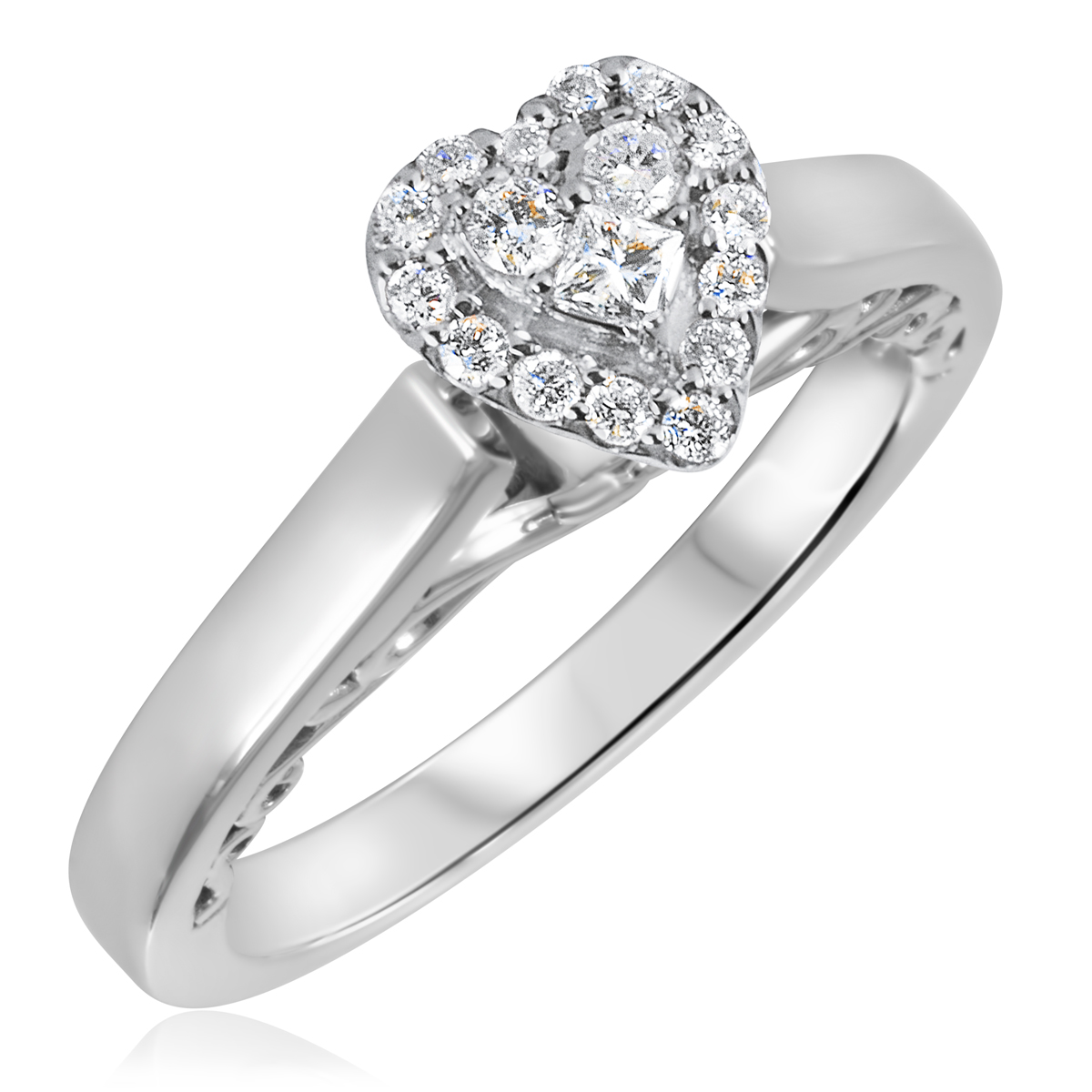 1/4 CT. T.W. Diamond Ladies Engagement Ring 14K White Gold- Size 8