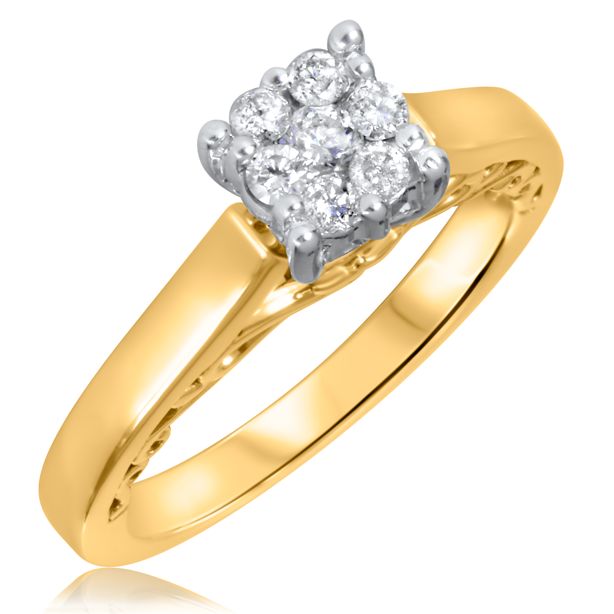 1/5 CT. T.W. Diamond Ladies Engagement Ring 10K Yellow Gold- Size 8