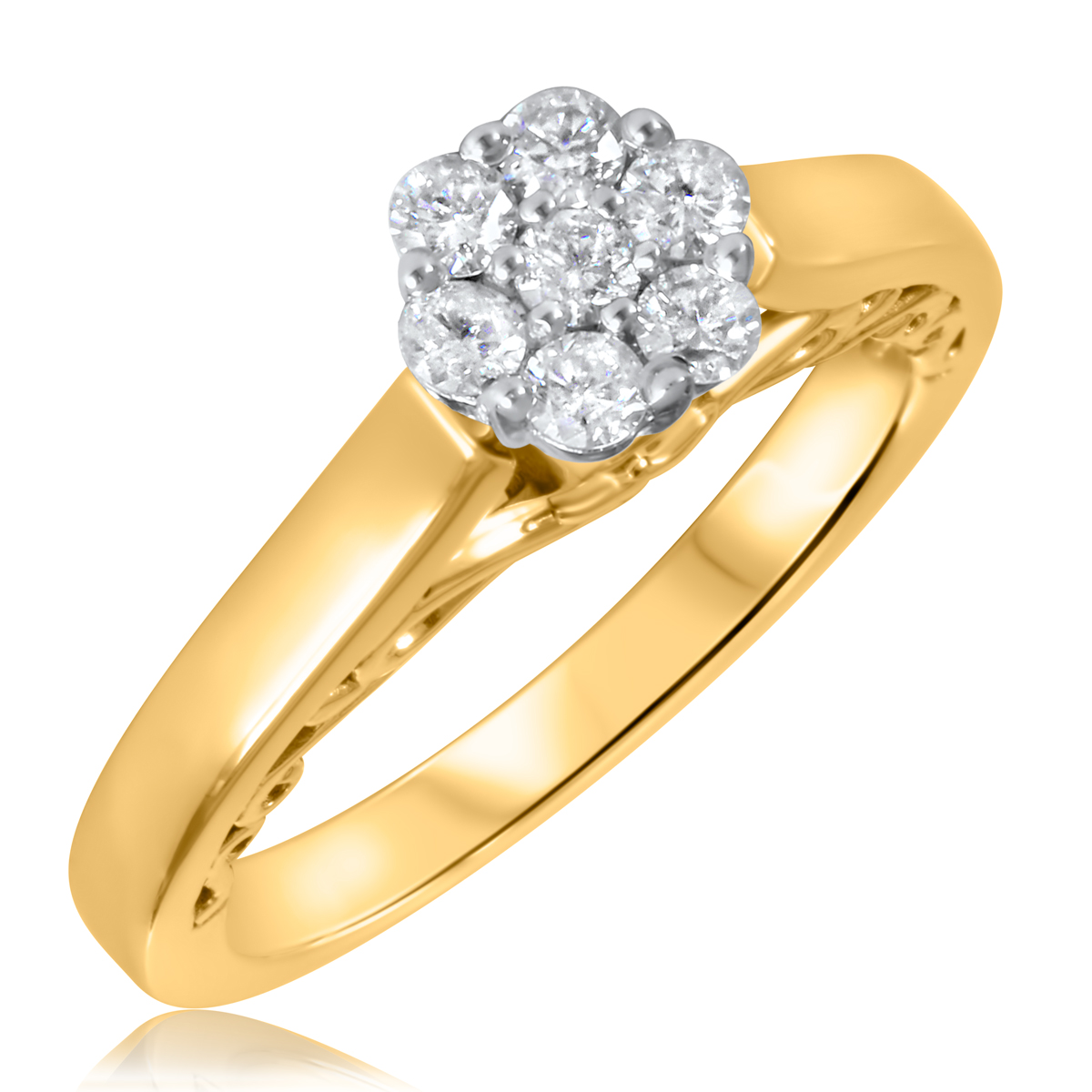 1/3 CT. T.W. Diamond Ladies Engagement Ring 14K Yellow Gold- Size 8