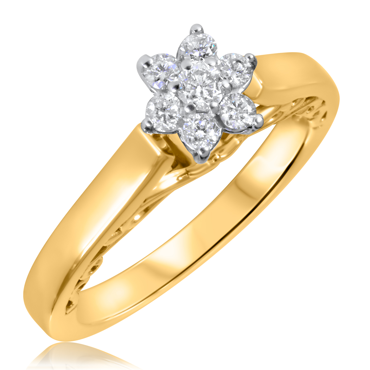 1/4 CT. T.W. Diamond Ladies Engagement Ring 10K Yellow Gold- Size 8