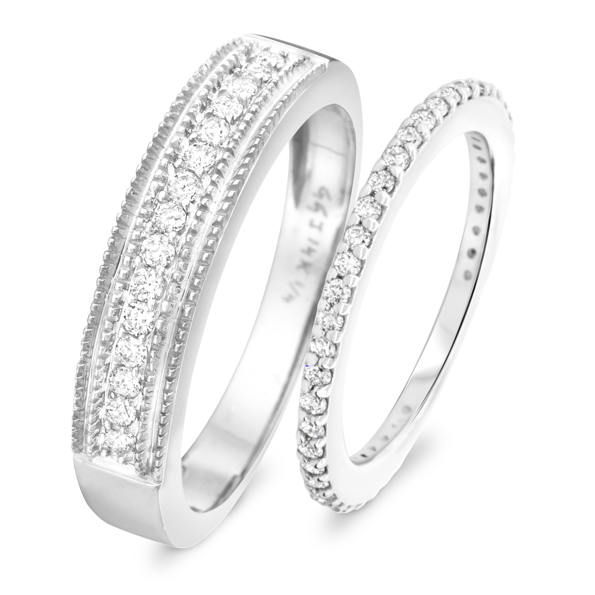 2/3 Carat T.W. Round Cut Diamond His and Hers Wedding Band Set 10K White Gold-