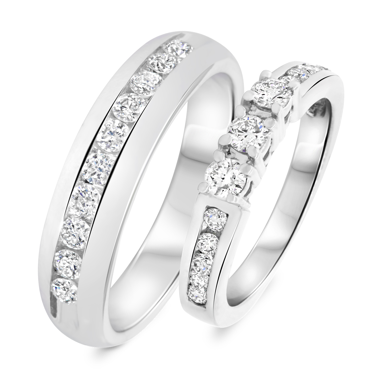 7/8 Carat T.W. Round Cut Diamond His and Hers Wedding Band Set 14K White Gold-