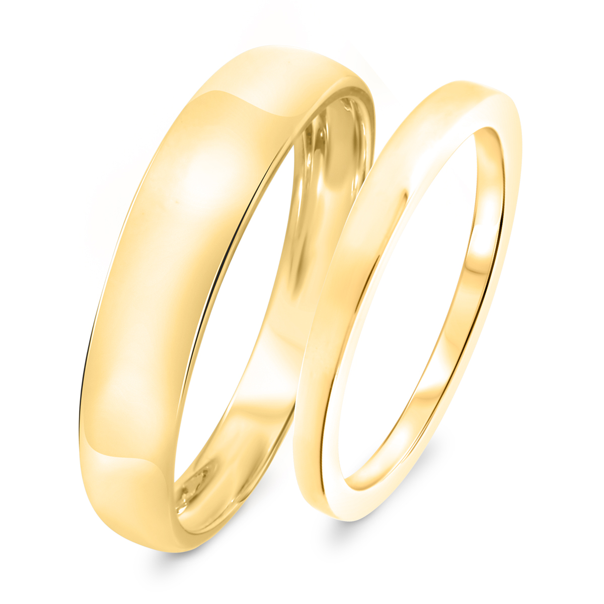 Traditional Wedding Band Set 10K Yellow Gold- Size 8