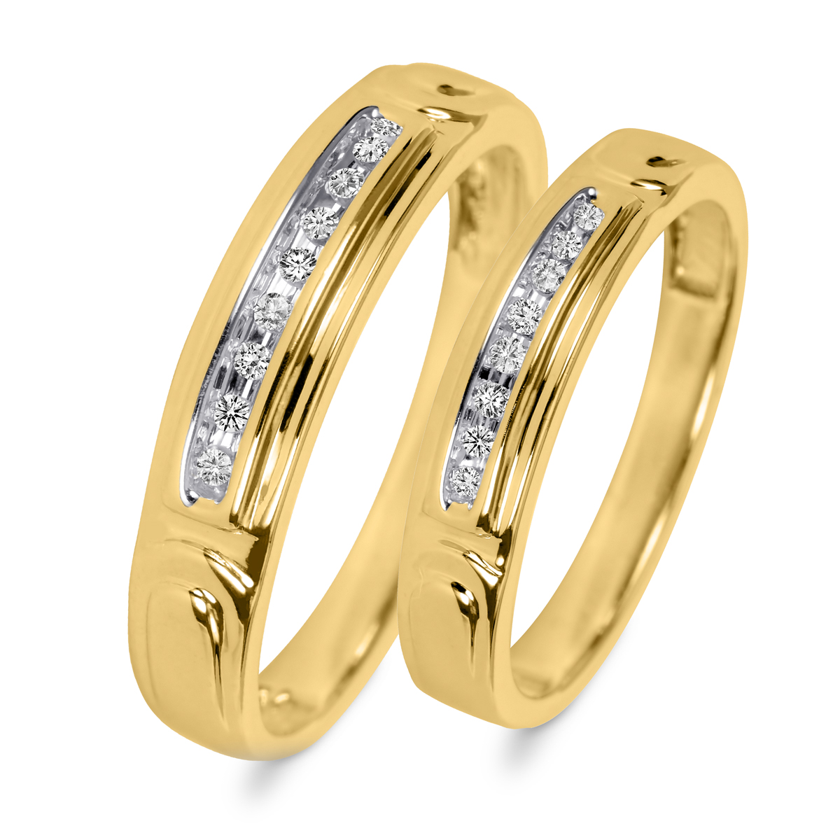 1/10 CT. T.W. Round Cut Diamond His And Hers Wedding Rings 14K Yellow Gold- Size