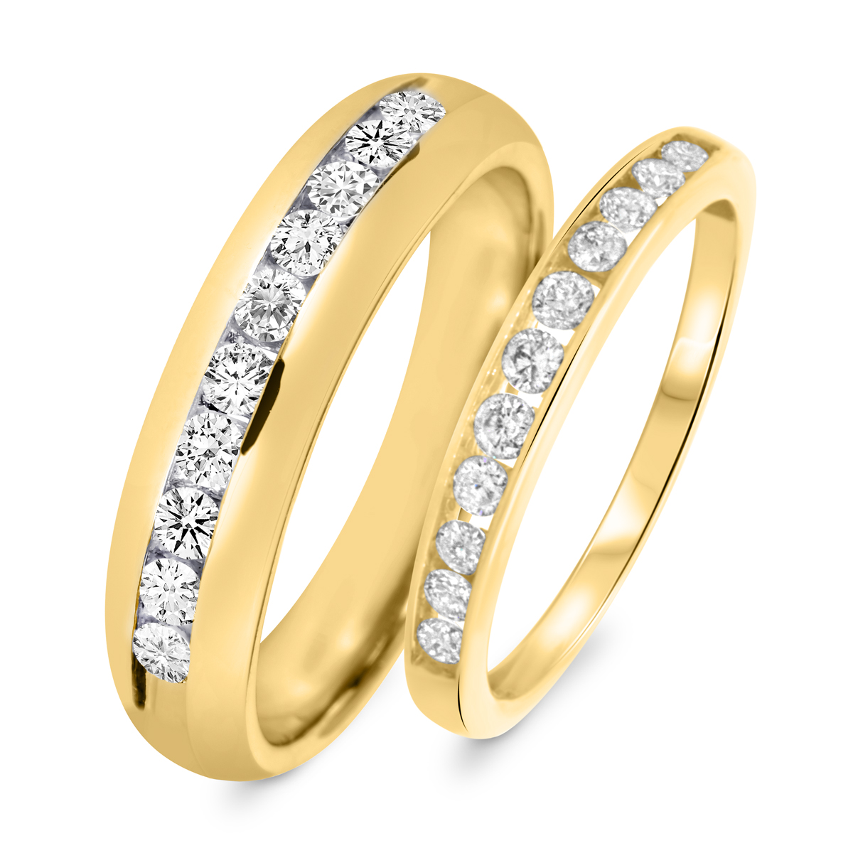 7/8 Carat T.W. Round Cut Diamond His And Hers Wedding Band Set 14K Yellow Gold-