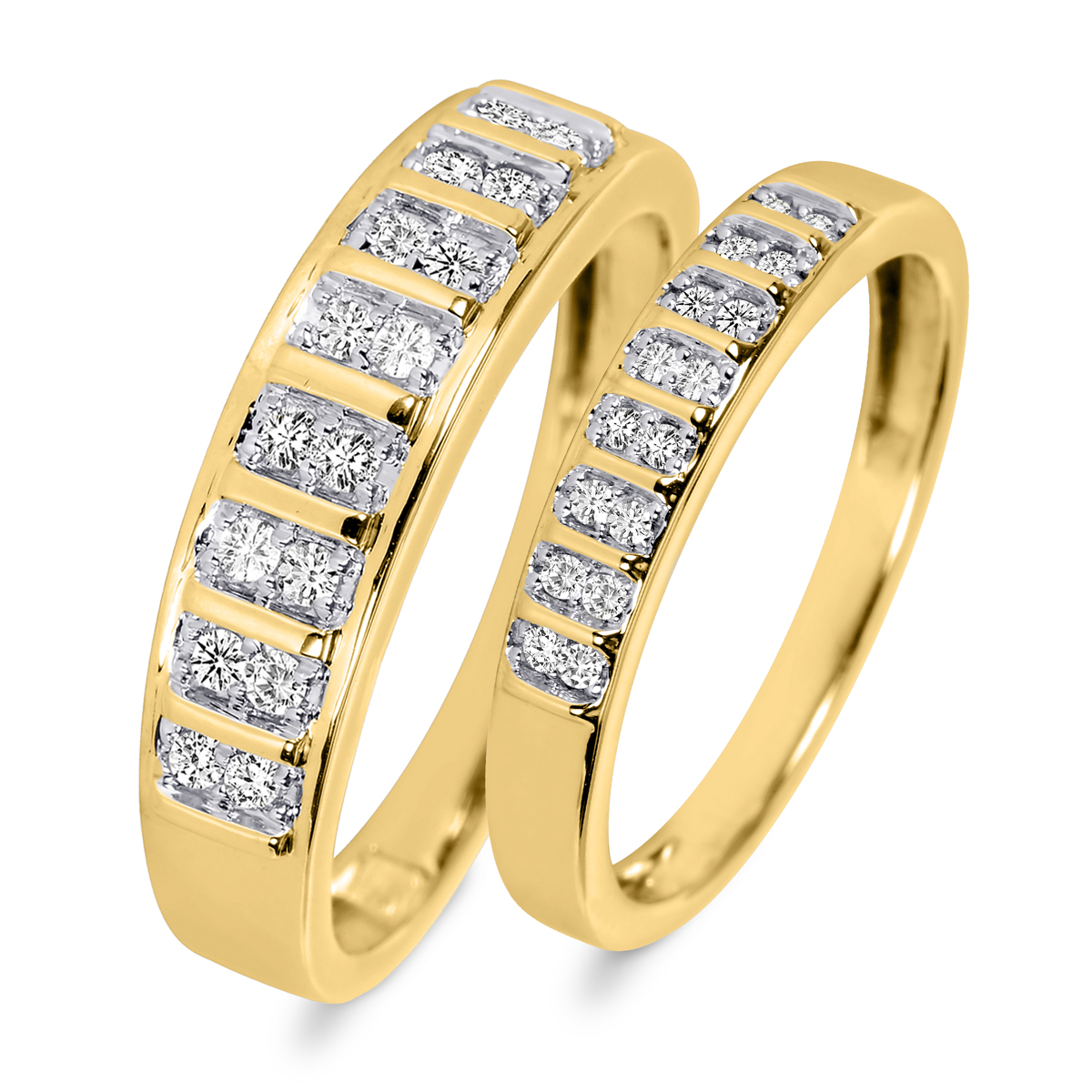 3/8 CT. T.W. Round Cut Diamond His And Hers Wedding Band Set 10K Yellow Gold-