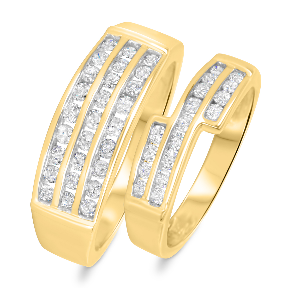 1 1/8 CT. T.W. Round Cut Diamond His And Hers Wedding Band Set 14K Yellow Gold-