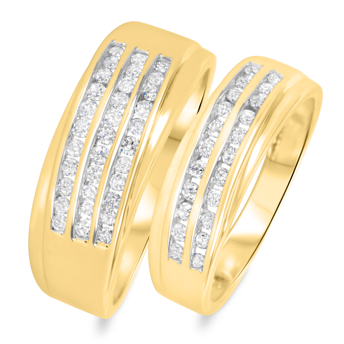 3/4 CT. T.W. Round Cut Diamond His And Hers Wedding Band Set 14K Yellow Gold-