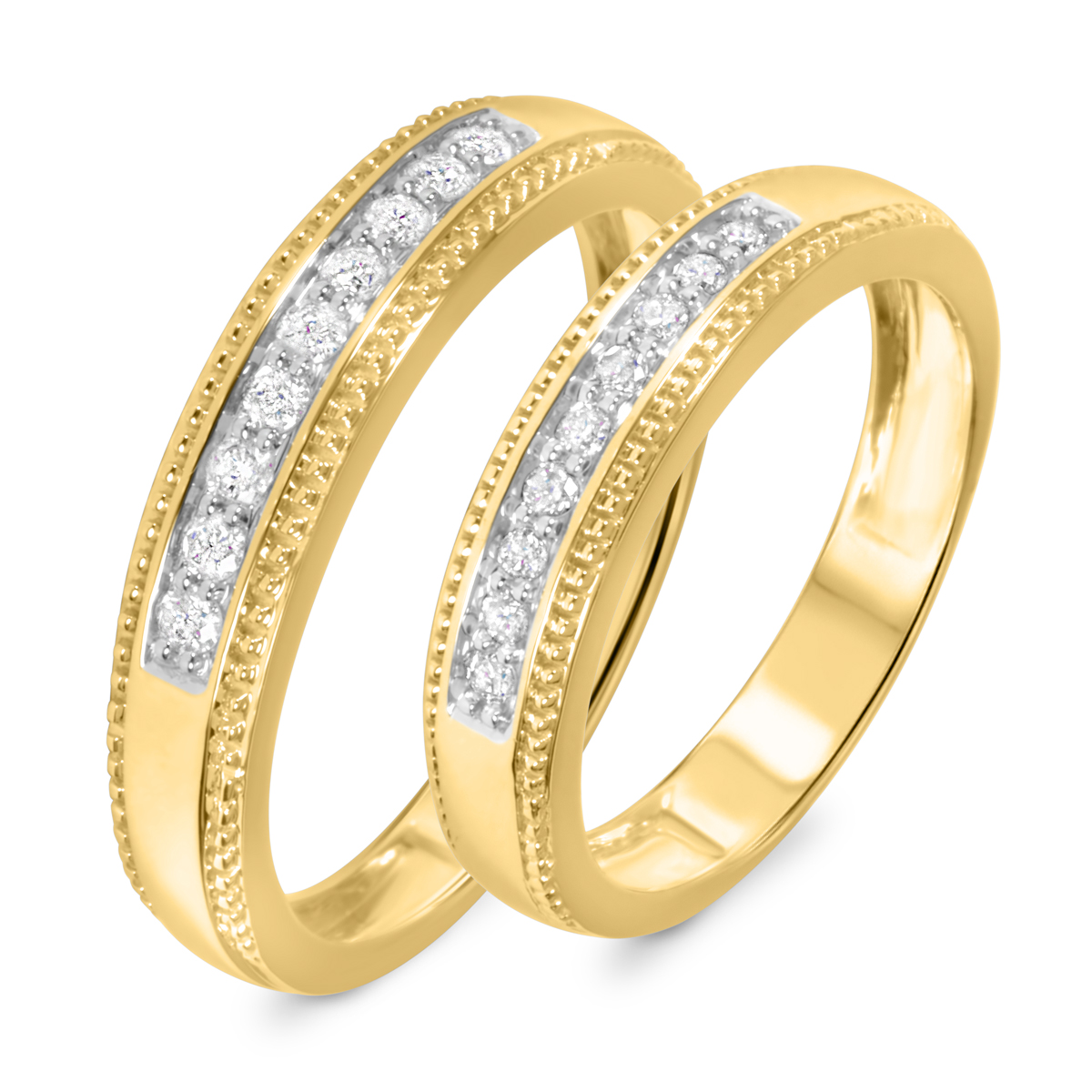 1/3 CT. T.W. Round Cut Diamond His And Hers Wedding Band Set 14K Yellow Gold-