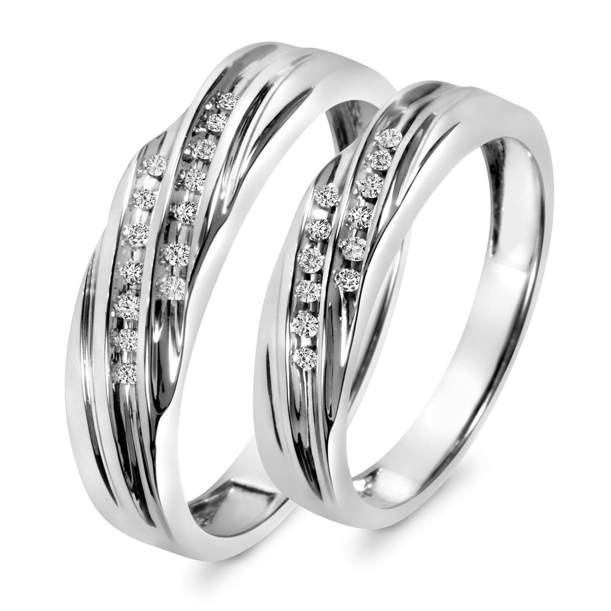 1/7 Carat T.W. Round Cut Diamond His And Hers Wedding Band Set 10K White Gold-