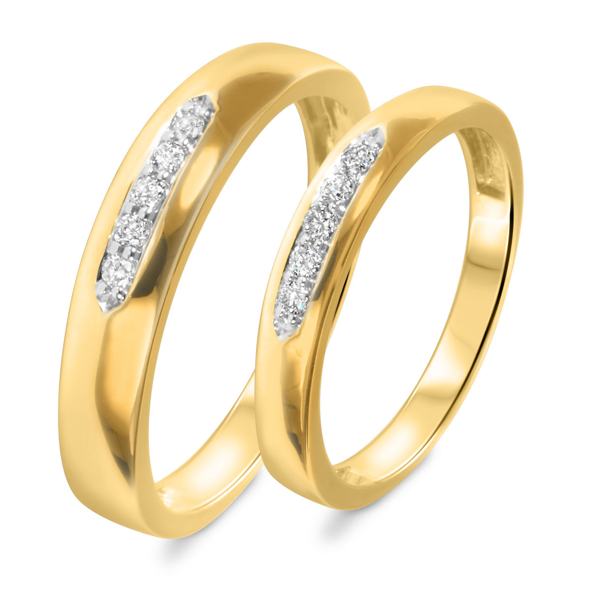 1/5 Carat T.W. Round Cut Diamond His And Hers Wedding Band Set 10K Yellow Gold-