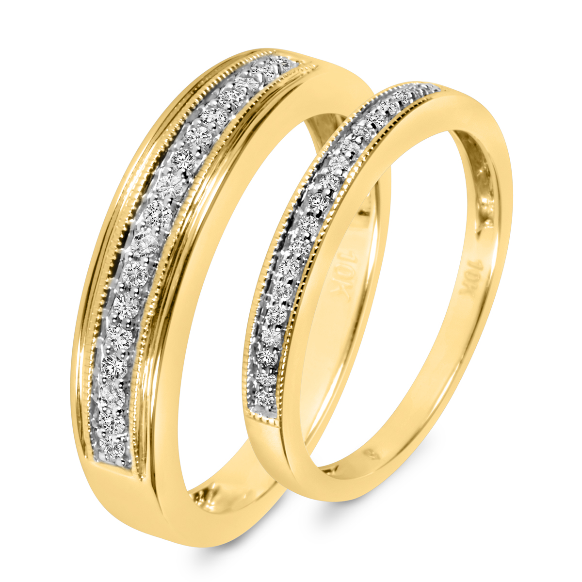 1/4 CT. T.W. Round Cut Diamond His And Hers Wedding Band Set 10K Yellow Gold-