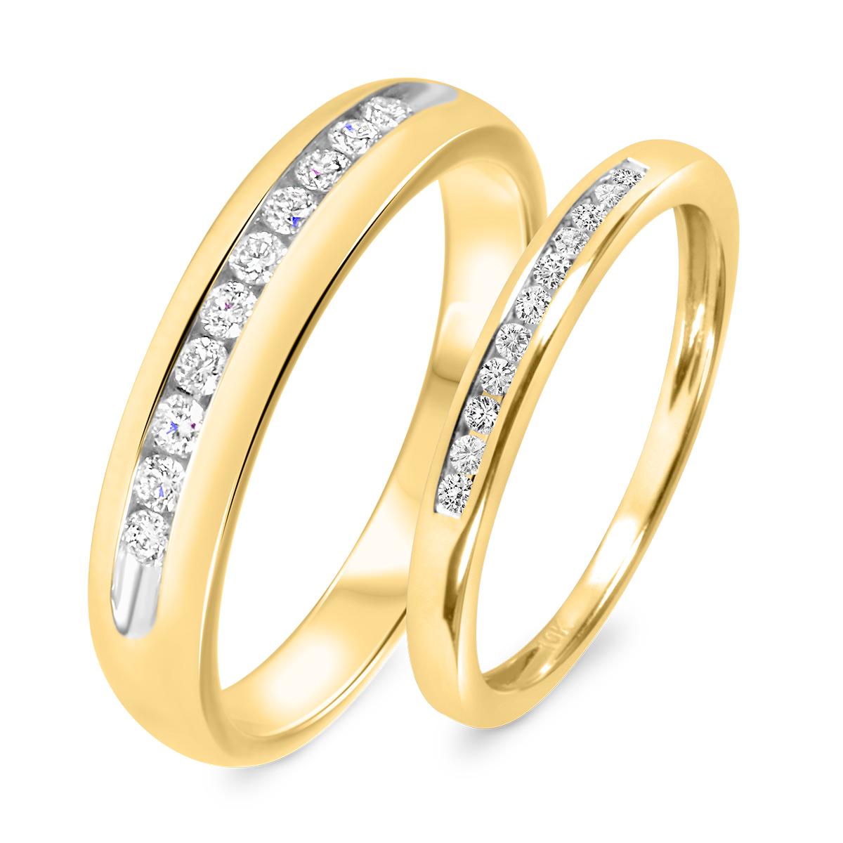 1/3 CT. T.W. Round Cut Diamond His And Hers Wedding Band Set 10K Yellow Gold-