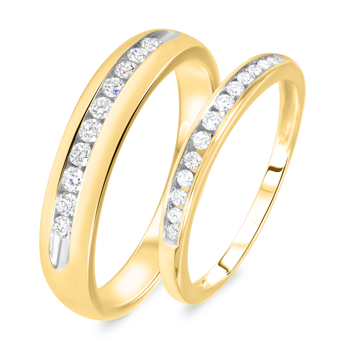 3/8 Carat T.W. Round Cut Diamond His And Hers Wedding Band Set 10K Yellow Gold-