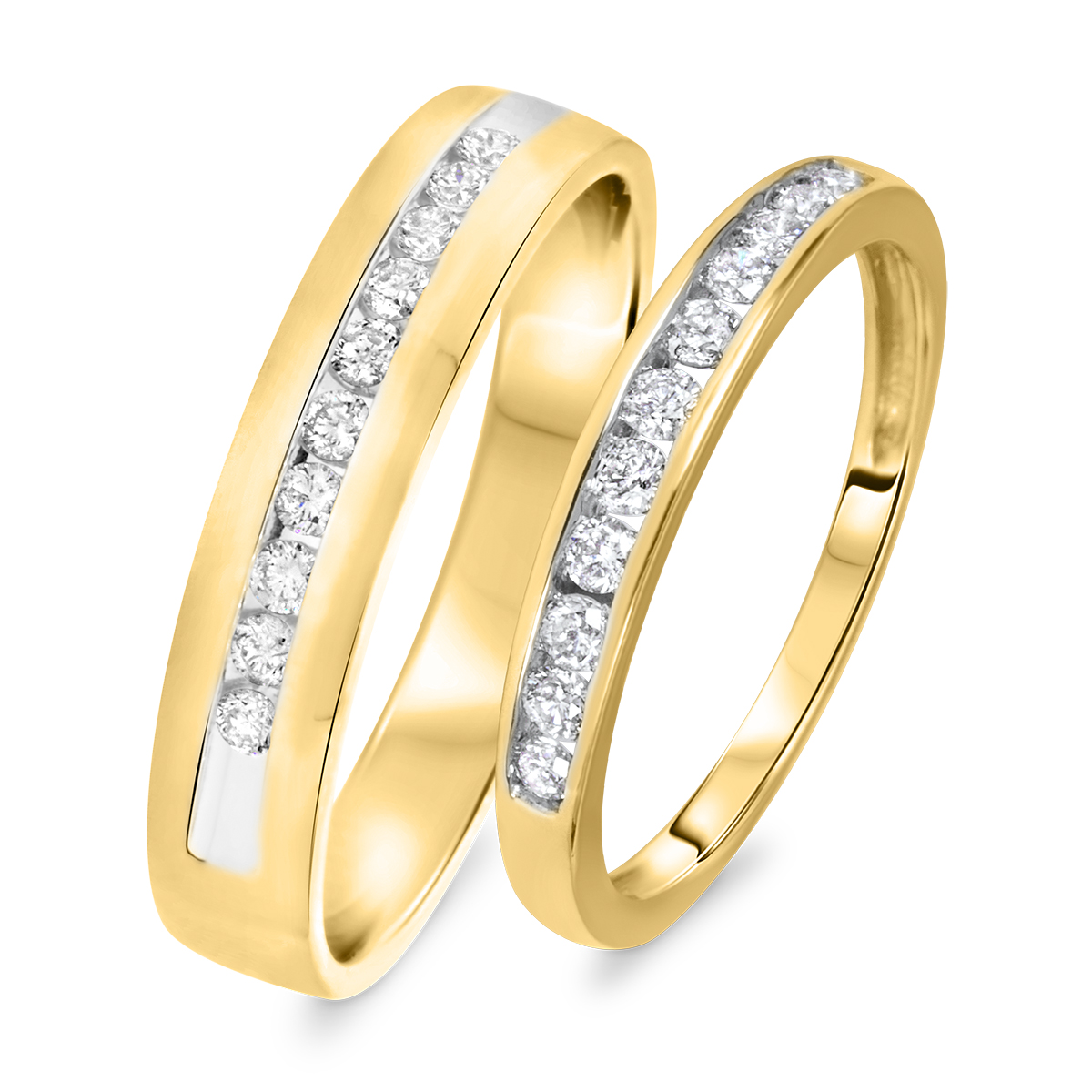 1/2 Carat T.W. Round Cut Diamond His And Hers Wedding Band Set 10K Yellow Gold-