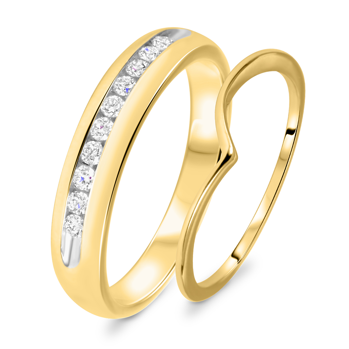 1/4 Carat T.W. Round Cut Diamond His And Hers Wedding Band Set 14K Yellow Gold-