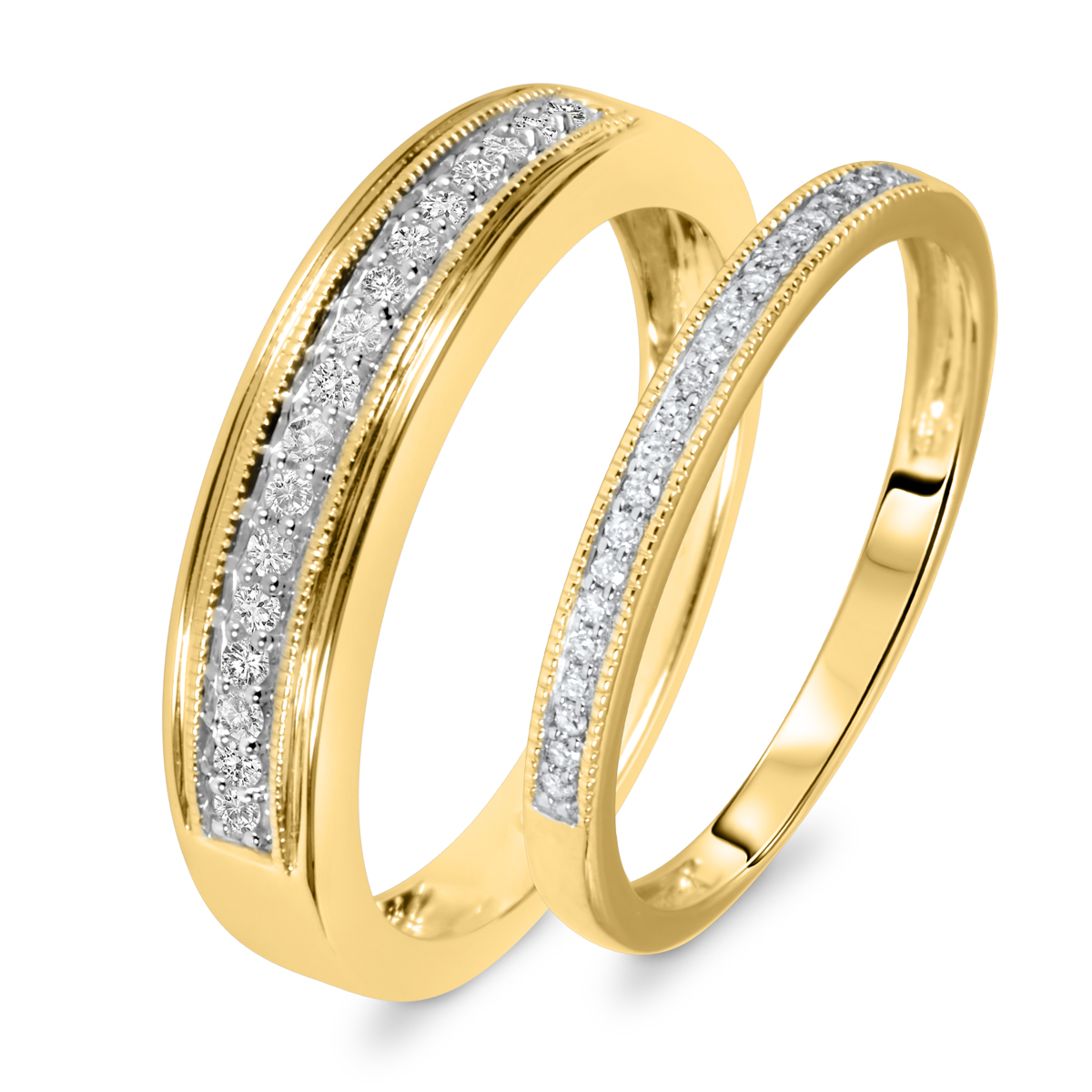 1/4 Carat T.W. Round Cut Diamond His And Hers Wedding Band Set 10K Yellow Gold-