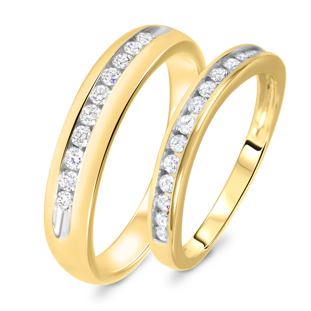 1/2 Carat T.W. Round Cut Diamond His And Hers Wedding Band Set 14K Yellow Gold-