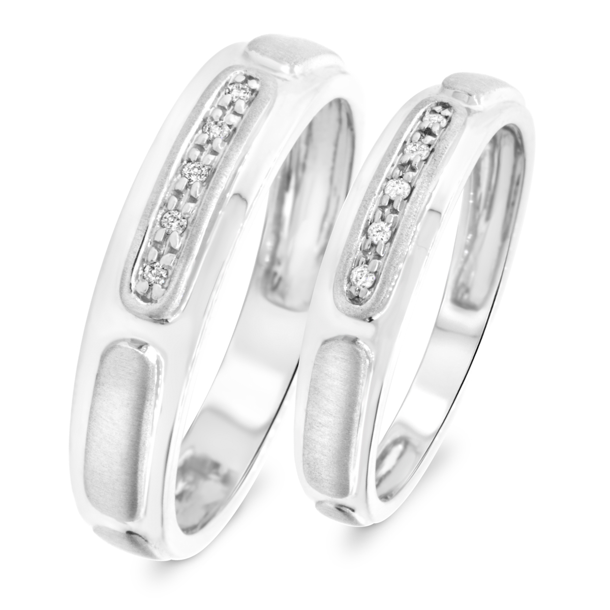 1/15 Carat T.W. Round Cut Diamond His And Hers Wedding Band Set 10K White Gold-