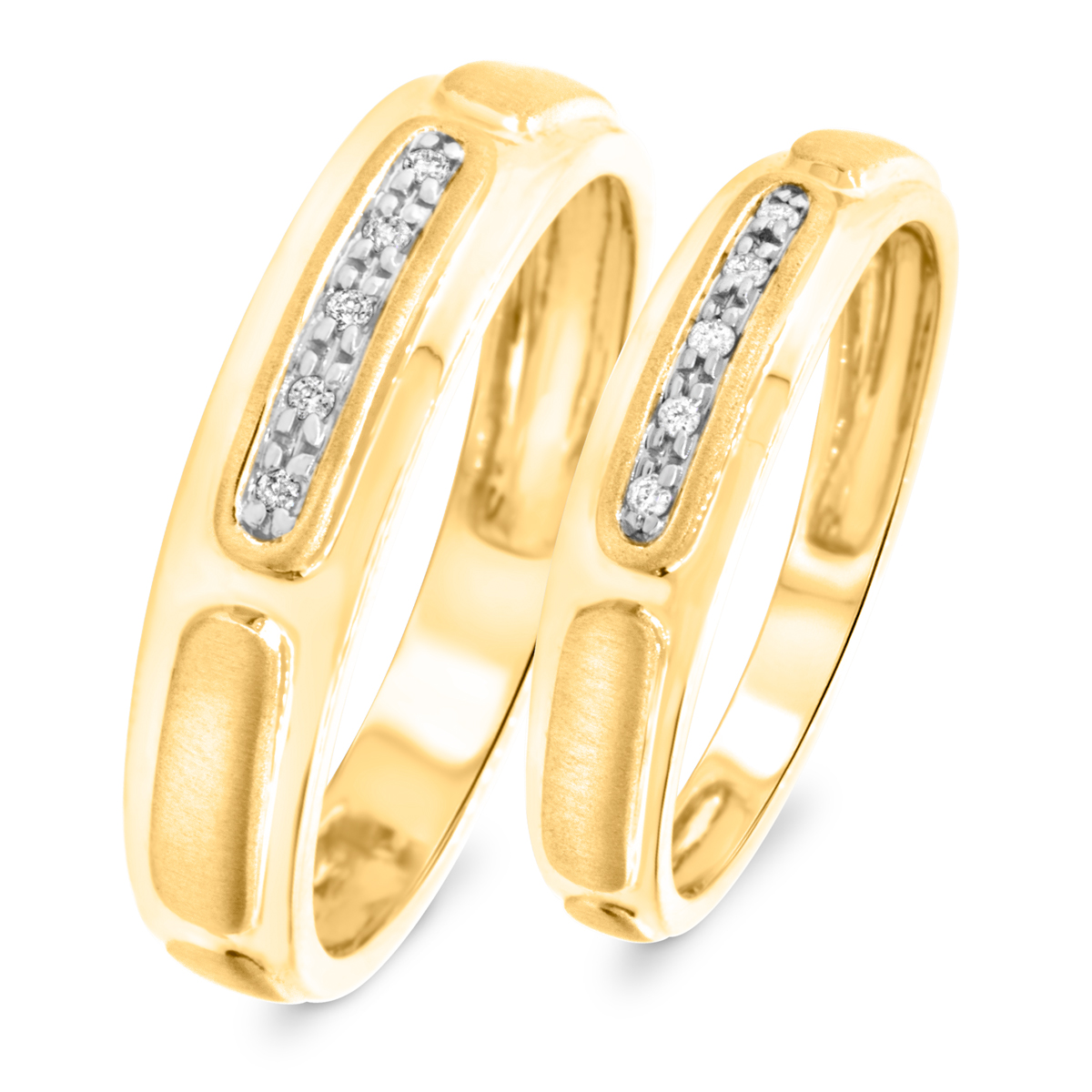 1/15 Carat T.W. Round Cut Diamond His And Hers Wedding Band Set 10K Yellow Gold-